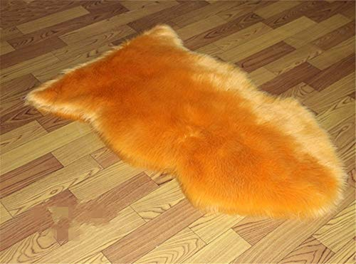 Super Soft Fluffy Shaggy Home Decor Faux Sheepskin Silky Rug for Bedroom Floor Sofa Chair,Chair Cover Seat Pad Couch Pad Area Carpet,2x3ft Orange ()