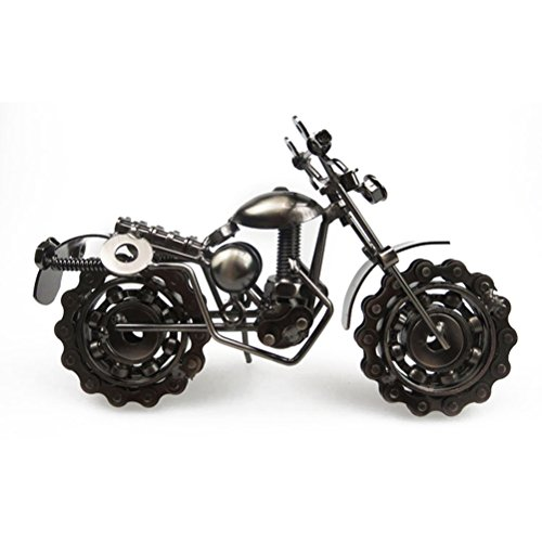 VORCOOL Vintage Iron Motorcycle Model Handmade Classic Motorcycle Models Retro Handicraft Collectible Iron Art Sculpture for Motorcycle Lover Home Desk Workplace Office Decoration (Grey) by VORCOOL