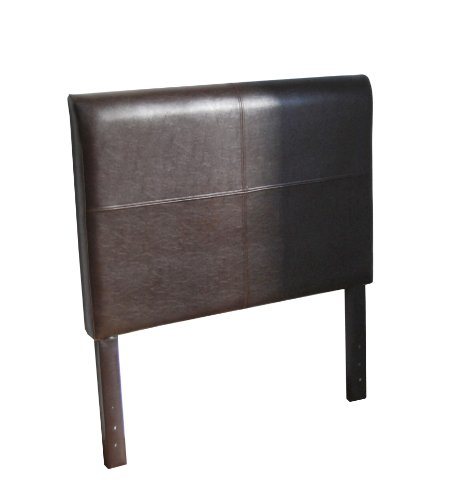 HomePop Youth Bonded Leather Twin Size Headboard, Brown