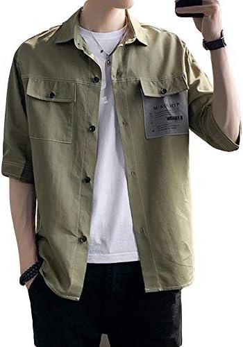 シャツ メンズ 半袖 無地 綿 亜麻 カジュアル お洒落 ゆったり ポケット設計 夏 2色 M~3XL 品質保証