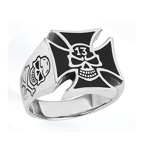 Stainless Steel Iron Cross Ring with skull (Available in Sizes 10 to 14) size 14 (Steel Iron Cross)