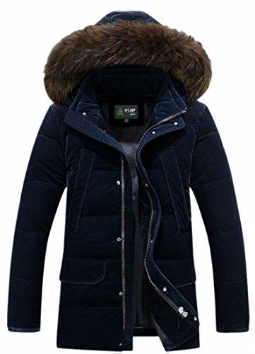 Cappuccio Outwear Addensare Da Brd Cappotto uk Blu Eco Piumino In Uomo Con Calda pelliccia Cotone 1YOwqOP