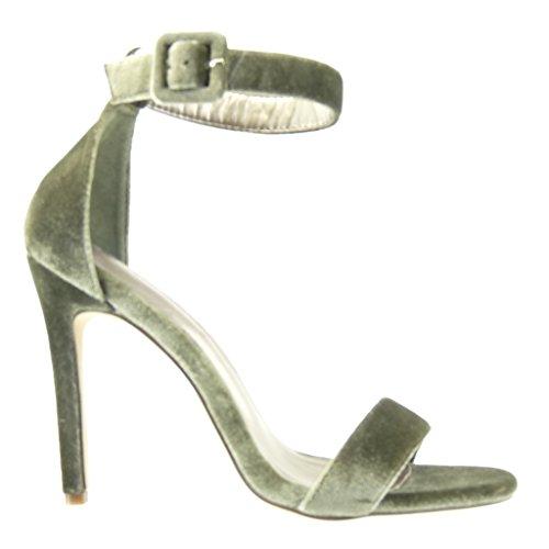 Angkorly - Chaussure Mode Escarpin Sandale stiletto sexy femme lanière Talon haut aiguille 11 CM - Vert