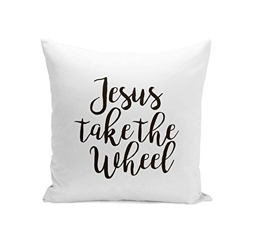 onepicebest Christian Pillow, Religious Pillow With Saying, Word Pillow, Decorative Pillow, Christian Gift, Jesus Take The Wheel