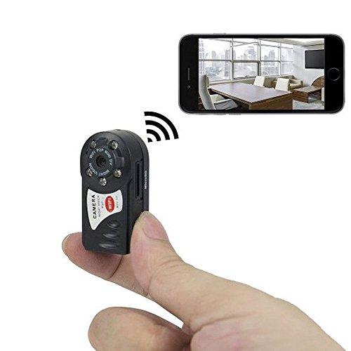 Mini Übwerwachungskamera mit 8GB Speicher Karte, Xingan Kabellose HD P2P WiFi Versteckte IP Kamera mit Aufzeichnung für Innen / Außen Sicherheits, Unterstützt iPhone / Android Smartphone / Tablet und PC , Schwarz