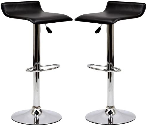 Modway Gloria Vintage Modern Faux Leather Upholstered Swivel Two Bar Stools in Black