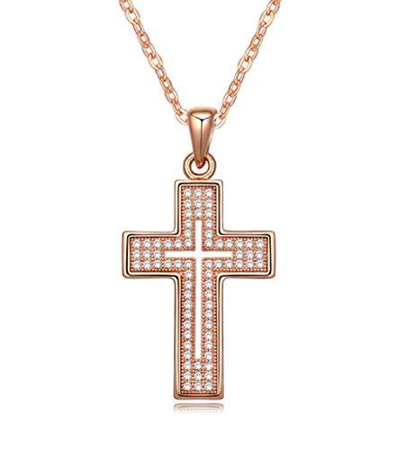 Cross Necklace for Women - 18K Rose Gold Plated - Great Gift for Baptism, Christening, Christmas, Easter, Birthday for Teen, Girl, Kid. Holy Religious Christian, Catholic Gift (Rose Gold)