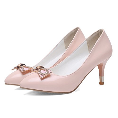 Amoonyfashion Donna Tira Su Punta A Punta Chiusa Gattino Tacchi Imitato Pelle Scamosciata Solido Pompe-scarpe Rosa