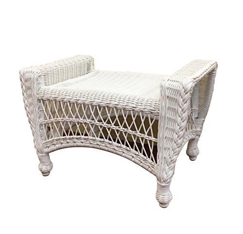 Wicker Paradise CC5-W Madison Outdoor Ottoman, White/No (White Wicker Ottoman)