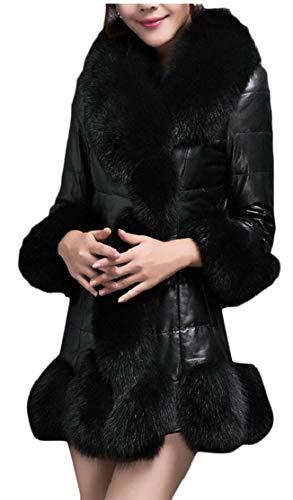 Long Black Coat Collar PU Leather Trench TTYLLMAO Women's Outerwear Fur Faux Winter Overcoat 7n0xR4pq