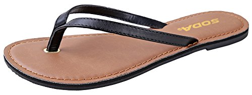 SODA Shoes Women Flip Flops Basic Plain Sandals Strap Casual Beach Thongs FELER Black 10