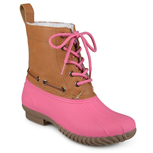 Journee Collection Kids Faux Shearling Lace-up Duck Boots Pink, 3 Regular US