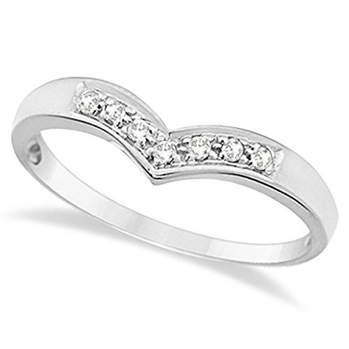 Classic Chevron V Shaped Diamond Ring 14k White Gold (0.10ct) by Allurez