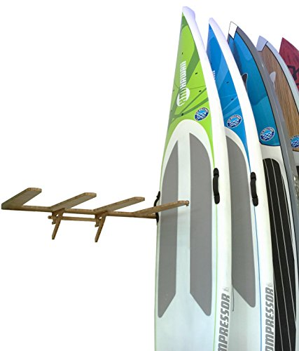 Bamboo Vertical Wall-Mounted SUP Rack for 4 Paddleboards or Surfboards - Grassracks by Grassracks