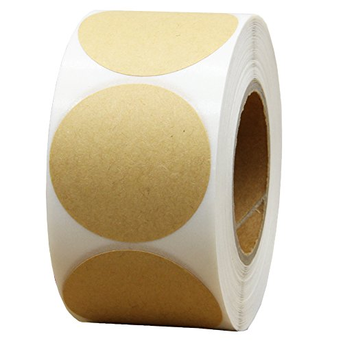 Hcode Natural Circle Kraft Paper Dots Labels 1.5 Inch Round Brown Adhesive Stickers Writable and Printable Thermal Transfer Labels 500 Pieces Per Roll (1 roll)