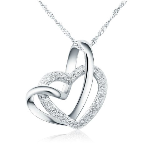 100% 925 Sterling Silver Loving You A Lifetime Interlocking Crafted Heart Shape Pendant Necklace For Women (Heart 20inch)