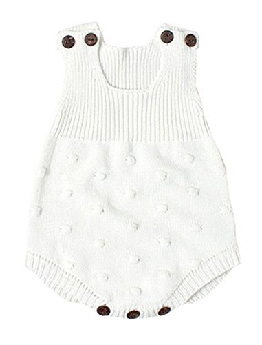 (Eiffel Direct Baby Girls Boys Knitted Striped Spot Romper Sleeveless Vest Jumpsuit Bodysuit, white, 73/Fit 6 months)