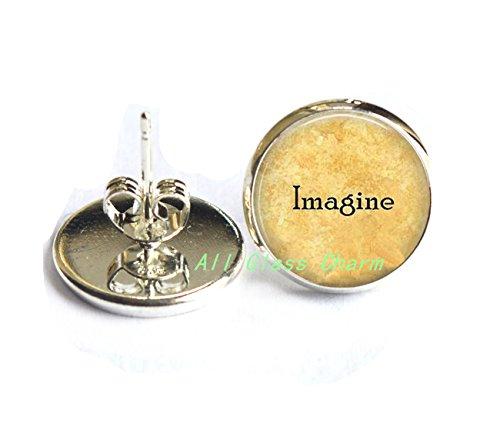 Beautiful Earrings,Imagine - Imagine Earrings - Imagine Peace - Imagine Stud Earrings - Gift for Grad - Imagine the Possibilities - Love not - Costume Ideas Lennon John