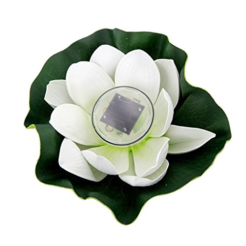 Flameer Various Water Floating Lotus Solar Power LED Light 7 Color Changing Lamp Outdoor Garden Pond Decor - White Petals, 28cm by Flameer