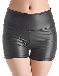 Sexy Shiny Stretchy Metallic Liquid Wet Look High Waist Shorts Hot Pants