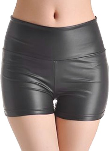 - QinMi Lover Sexy Shiny Stretchy Metallic Liquid Wet Look High Waist Shorts Hot Pants,Black