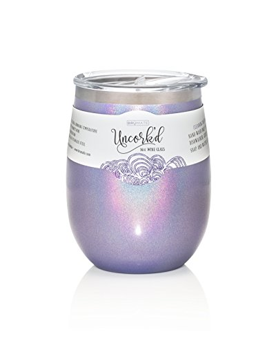 (BrüMate Uncork'd XL 14oz Wine Glass Tumbler With Splash-proof Lid - Made With Vacuum Insulated Stainless Steel (Glitter)