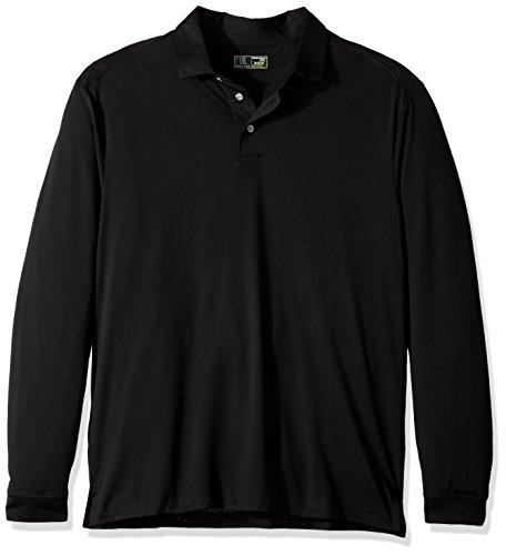 PGA TOUR Men's Airflux Long Sleeve Polo Shirt, Caviar_PVKF70B6, XL