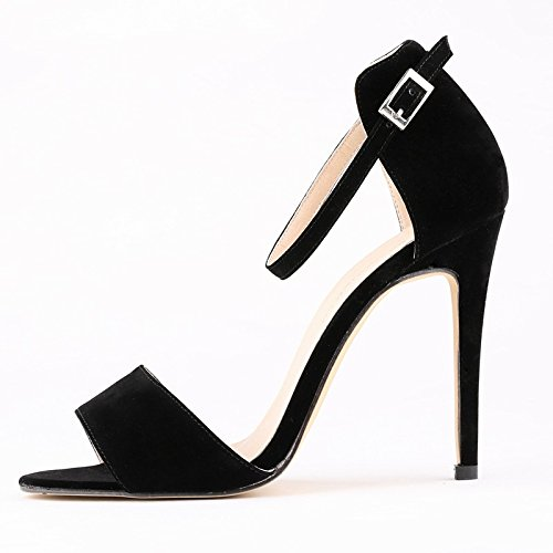 summer Heel toe heeled High Female R Sexy New Black Stiletto SODIAL contracted peep Sandals leisure Sandals 38 in 7Zqy187r