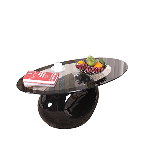 High Gloss Coffee Table Designer Oval Tempered Glass Soft table Fibreglass Base Livingroom (Oval,Black)
