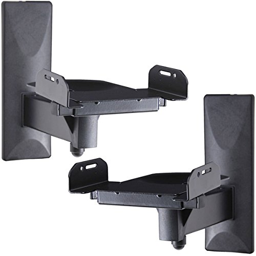 VideoSecu One Pair of Side Clamping Bookshelf Speaker Mounting Bracket with Swivel and Tilt for Large Surrounding Sound Speakers MS56B 3LH (Speaker Holder)