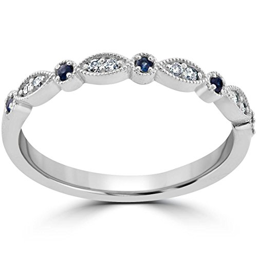 (1/5 ct Blue Sapphire & Diamond Wedding Ring Stackable Band 10k White Gold - Size 6)