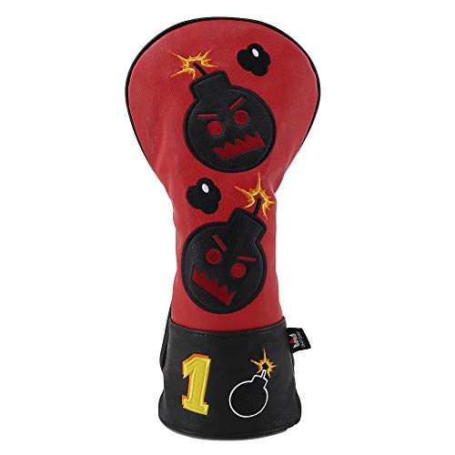 Craftsman Golf Bomb Red & Black Driver Fairway Wood Hybrid PU Leather Vintage Golf Clubs Head Covers (Driver Cover #1) (Best Vintage Golf Clubs)
