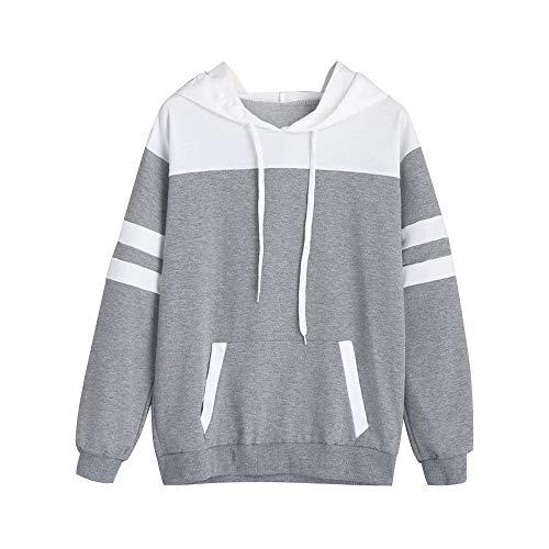 Longues Manches Sweat Femme Chemisier LULIKA Shirt Capuche Capuche Sweatshirt Gris Tops Sweat Pull Sweatshirt Capuche Sq0A80w