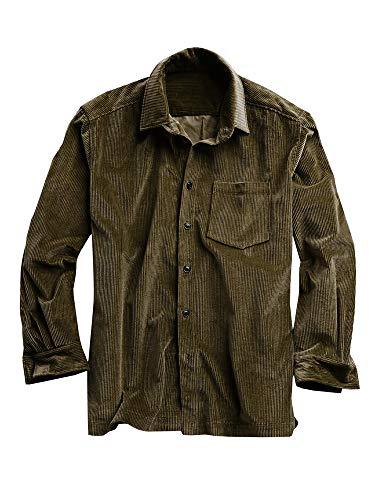 Chellysun Mens Corduroy Shirts Button Down Standard Collar Regular Fit Pocket Flannel Shirt Army Green