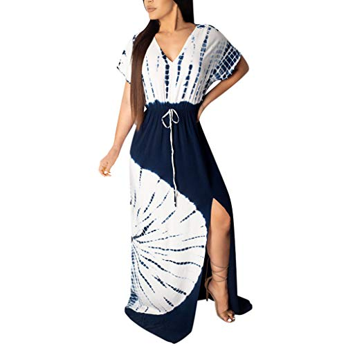 (♛HebeTop♛ Women's Floral Wrap Dress Casual Boho V-Neck Split Long Dresses with Belt Blue)
