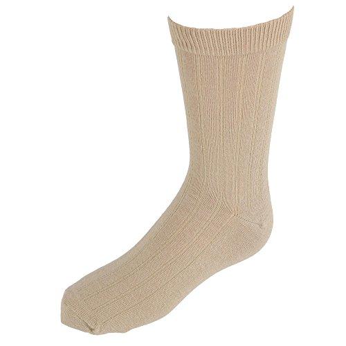 Crew Spandex Uniform - Jefferies Socks Kids' Cotton Ribbed Uniform Crew Socks, Large, Khaki