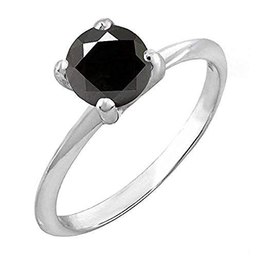 - Dazzlingrock Collection 1.00 Carat (ctw) Sterling Silver Black Diamond Bridal Engagement Solitaire Ring 1 CT, Size 6