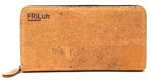 FRiLuk Vegan Purse Wallet RFID Blocking for Women Made of Cork (Black)