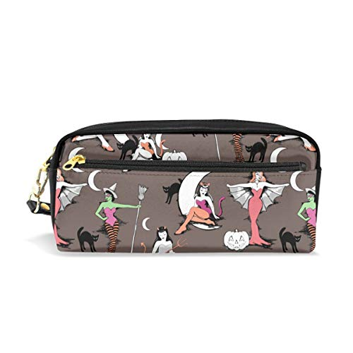Pencil Case Vintage Halloween Pinups in Hot Cocoa Gift Students Canvas Pen Bag Pouch Stationary Case Makeup Cosmetic Bag -