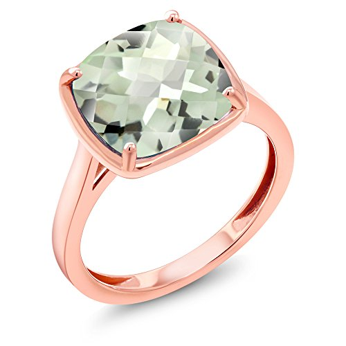 3.33 Ct Cushion Checkerboard Green Amethyst 14K Rose Gold Ring (Available in size 5, 6, 7, 8, 9)