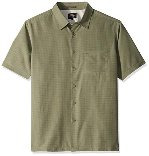 Quiksilver Up Button Shirt - Quiksilver Waterman Men's Centinela 4 Button Down Shirt, Ivy Green, XL