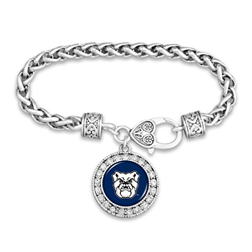 Butler Bulldogs Silver Tone Bracelet with Round Team Logo and Embellished with Crystals Bulldogs Round Crystal