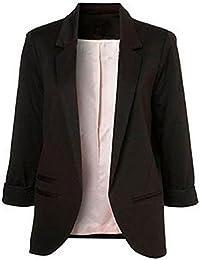 Women's Cotton Basic Boyfriend Ponte Rolled Blazer Jacket...
