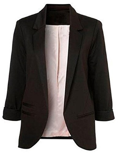 Faddish Women's Cotton Basic Boyfriend Ponte Rolled Blazer Jacket Suits Black (Three Quarter Length Jacket)