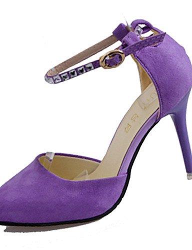 GGX/ Damenschuhe-High Heels-Lässig-Vlies-Stöckelabsatz-Absätze-Schwarz / Lila purple-us5 / eu35 / uk3 / cn34