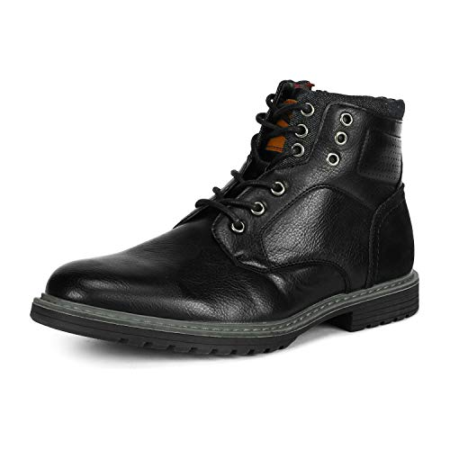 Bruno Marc Men's Philly_15 Black Dress Combat Motorcycle Oxfords Boots Size 9 M - Zipper Mens Black