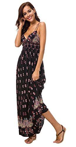 Urban GoCo Mujer Vestido Largo Maxi de Verano Elegante Boho Backless Sundress para Boda Playas Fiesta Noche Negro