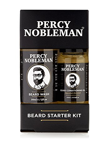 Gufts For Him - Beard Grooming Kit - STOCKING STUFFER - A Beard Starter Kit Containing A Beard Oil & Beard Wash By Percy Nobleman 40ml