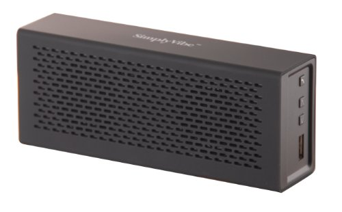 SimplyVibe V5-BT1-Black Wireless Bluetooth Speakers with Built in 18 Hour Rechargeable Battery, USB Battery Charger and Hands-Free Speakerphone