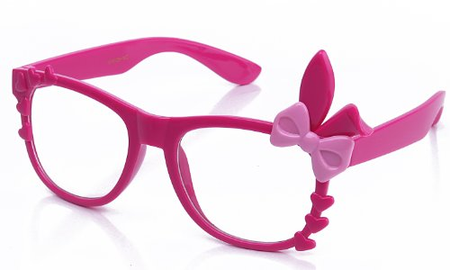 Kyra Women's High Fashion Bunny Ears Hearts Bow Clear Lens Glasses 20% OFF 4 Pairs or - Glasses Bow